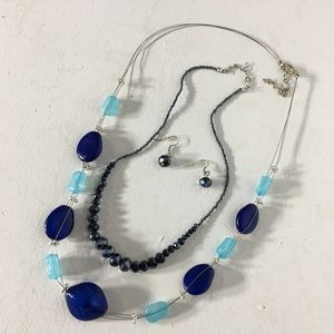 Jewelry - Beaded Silver Tone Necklace and Necklace Set